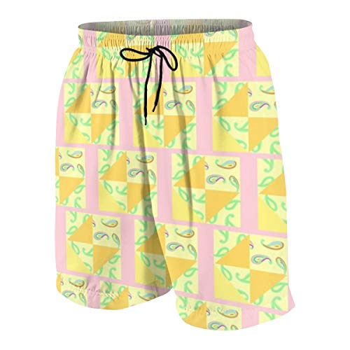 Boys Trunks Swimwear,Pastel Paisleys Pink Quilt_1884,M ()