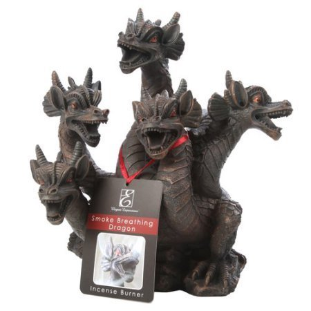 Elegant Expressions 5 Headed Smoke Breathing Dragon Incense Burner, IB465 by Hosley