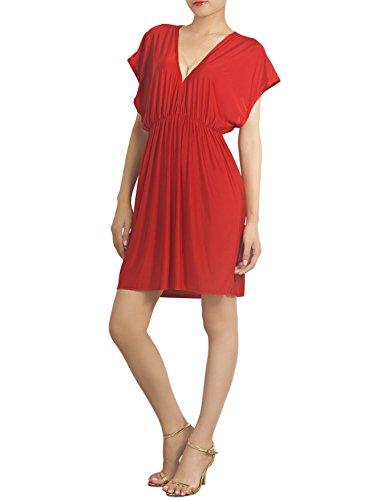 iB-iP Women'S Deep V-Neck Plunge High Waist Bikini Swimsuit Mini Tunic Cover-Up, Size: M-L, Red