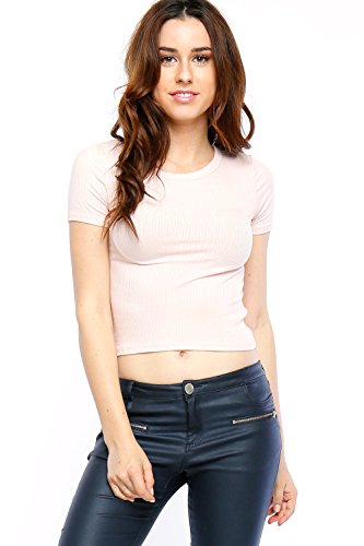 Califul Womens Fitted Crewneck Short Sleeve Ribbed Crop Top (Medium, BTS01 Ballet Pink)