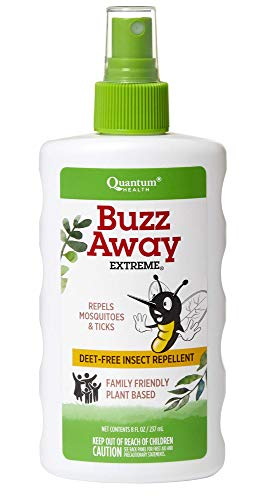 (Quantum Health Buzz Away Extreme - DEET-free Insect Repellent, Essential Oil Bug Spray - Small Children and Up, Travel Friendly, 8 Fl Oz )