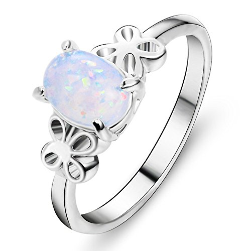 Exquisite Womens Silver Ring Oval Cut Fire Opal Butterfly Rings Engagement Wedding Band Fashion Jewelry Gift By Balakie(Sliver,6#) by Balakie Ring (Image #3)