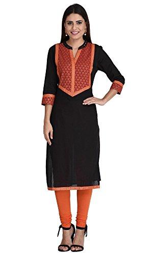 Indi-Dori-Womens-Cotton-Black-Sparkle-Yoke-Kurti