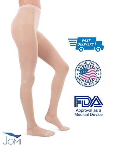 Jomi Compression Pantyhose Women Collection, 20-30mmHg Surgical Weight Closed Toe, Petite Short 272 (Small, Beige)