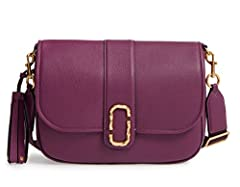 Taking inspiration from couriers messenger bags, this chic crossbody made from textured leather features a woven strap and striking double-J hardware.