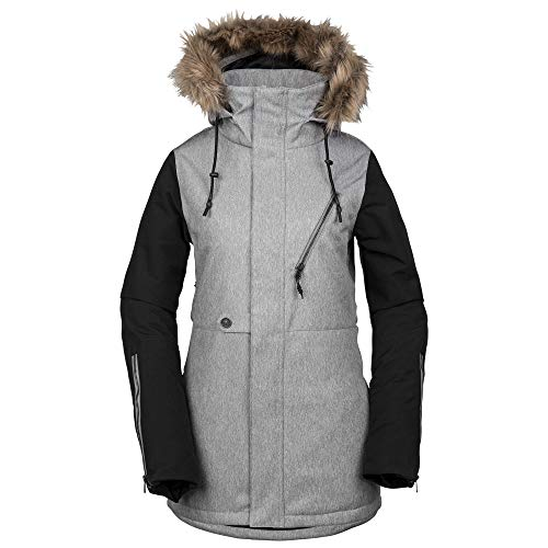 Volcom Women's Fawn Insulated Snow Jacket, Heather Grey, Small