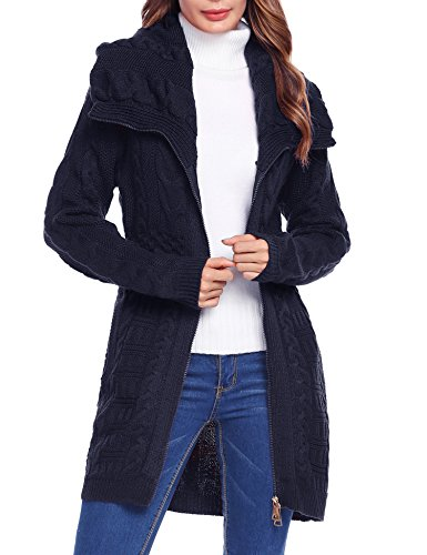 Zeagoo Womens Long Sleeve Hooded Aran Zipper Knitwear Cable Knit Cardigan Sweater (Large, Navy Blue) (Knit Hooded Sweater Cable)