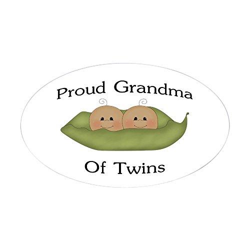 CafePress Proud Grandma Of Twins Oval Sticker Oval Bumper Sticker, Euro Oval Car Decal