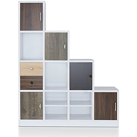 Contemporary Bookcase White With Varying Wood Finish