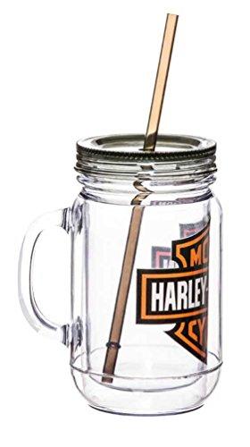 Harley-Davidson Bar & Shield Logo Mason Jar Mug, 20oz Clear w/Black Lid 2AJ4900