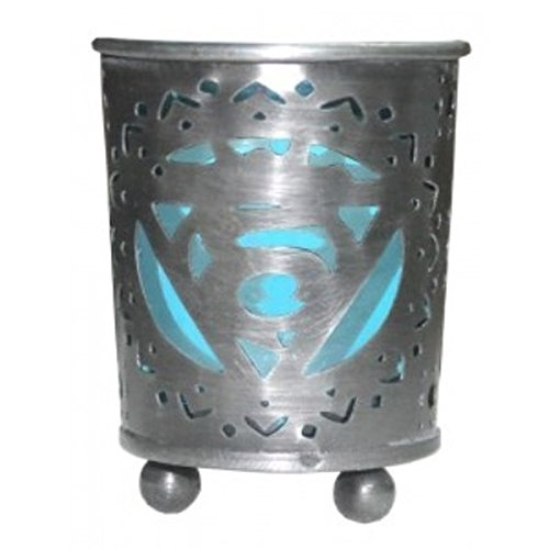 Green Tree Throat Chakra Metal Votive Candle Holder with Blue Glass Insert