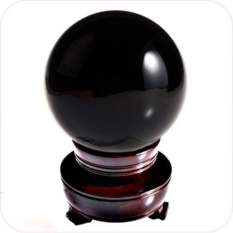 - MerryNine 80mm 3.15inch Crystal Ball with Redwood Resin Stand (Obsidian Black 80mm/3.2