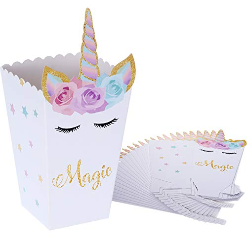 (SATINIOR 24 Pieces Popcorn Snack Boxes Rainbow Unicorn Pattern Treat Box Popcorn Container for Baby Shower Birthday Party Supplies)