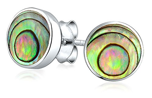 Abalone Earrings Round (Bling Jewelry Round Bezel Set Iridescent Abalone Shell Stud earrings 925 Sterling Silver 7mm)