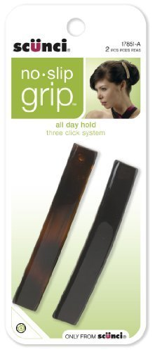 Scunci No-slip Grip Auto Clasp Barrettes, 8.5cm, 2-Count, Co
