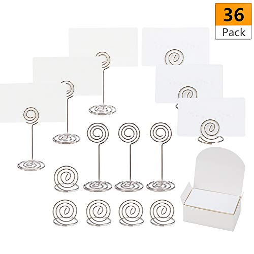 36 Pack Table Number Stand Holders and Ring Holder Name Photo Menu Memo Holders with 100 PCS Place Cards for Wedding Party Office (Silver) by Suptee