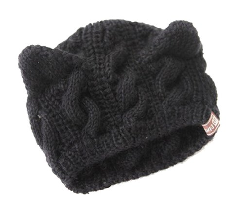 Leegoal Women Devil Horns Cat Ear Crochet Braided Knit Ski Wool Hat Cap,Black