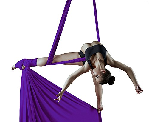 Orbsoul Complete Aerial Silks Deluxe Equipment Set (Includes Premium Tricot Silks, Hardware and Set-Up Guide) (Jewel Purple)