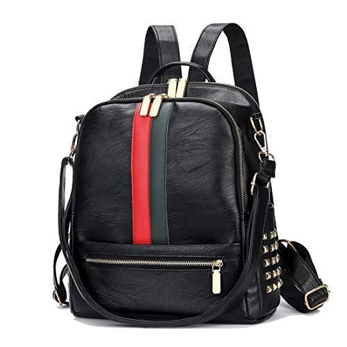 Leparvi Mini Cute Backpack Purse PU Leather Women Backpack Bags Satchel Luxury Totes Ladies Work Rucksack Bag (Upgrade Black)
