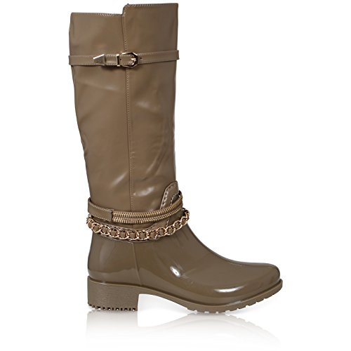 CORE COLLECTION Womens Ladies Wellies Festival Wellington Knee High Welly Boots Shoes Dark Beige 7YrcvUyH