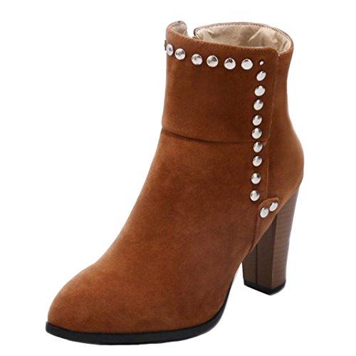 Women's Yellow TAOFFEN Zipper Brown Boots Fashion fP6wRx