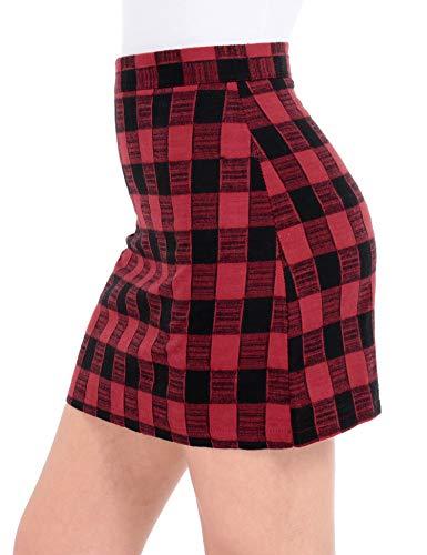 h Waist Bodycon Mini Skirt School Girl Plaid Uniform Skirt Red S ()