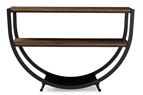 Baxton Studio Blakes Rustic Industrial Style Antique Textured Metal Distressed Wood Console Table, Black (Foyer Table Metal)