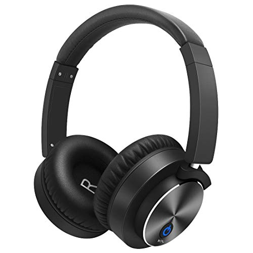 Active Noise Cancelling Bluetooth Headphones Over Ear Wireless Headphones with Mic, Comfortable Protein Earpads 30H Playtime, Foldable Headphones for Travel/Work – Black