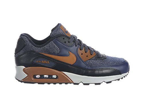 Max 90 Leather Mens Shoe (Nike Men's Air Max 90 Thunder Blue/Ale Brown/Obsidian Leather Casual Shoes 12 D(M) US)