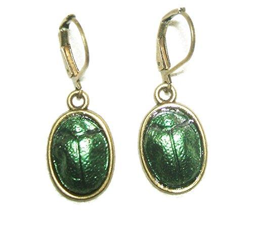 EGYPTIAN REVIVAL SCARAB Beetle Earrings Metallic Green Dangle Drops ()