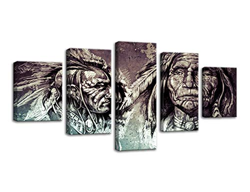 - AMEMNY Black and White Native American Indians Portrait Canvas Painting Prints 5 Panel Abstract Wall Art African American Home Decor Pictures Poster Painting for Living Room Framed Ready to Hang