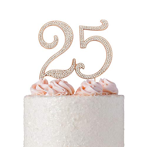 25 ROSE GOLD Cake Topper | Premium Bling Crystal Rhinestone Diamond Gems | 25th Birthday or Anniversary Party Decoration Ideas | Quality Metal Alloy | Perfect Keepsake (25 Rose) -