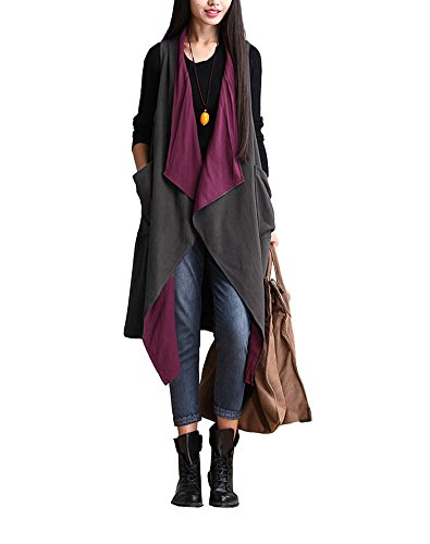 Minibee Women's Sleeveless Vest Cardigan with Pockets Wear in Two Sides Purple