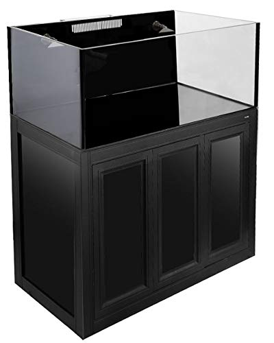 Innovative Marine Nuvo 100 Gallon EXT External Overflow Aquarium and APS Aluminum Profile Series Stand - Matte Black ()