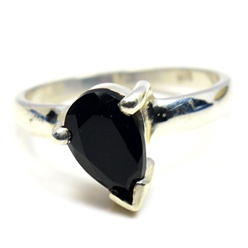 Gemsonclick Natural Black Onyx Pear Shape 925 Sterling Silver Ring (Black Onyx Pear Shape)