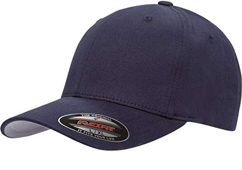 (Yupoong - Flexfit® Brushed 6-Panel Cap, Navy,)