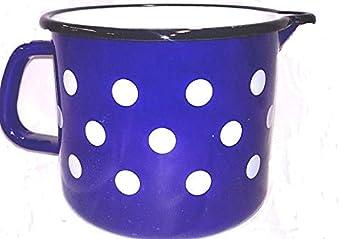 10 cm - 0,5 Liter Email blau wei/ß Punkte Zimmermann24de Hochwertiger Milchtopf Emaille