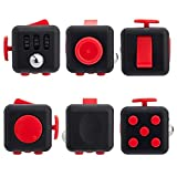 Fidget Cube Relieves Stress and Anxiety Attention Toy for Children and Adults (Black-Red)