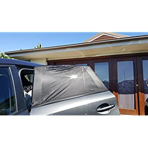"The Window Sox Car Window Sun Shade 2 Pack - Windshield Protection For Kids, Pets & Vehicle Interiors Large Size 49"" by 20"" for 4WD & Truck (Black)"