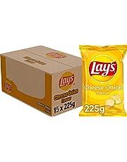 Lay's Chips Cheese Onion, Doos 15 stuks x 225 g