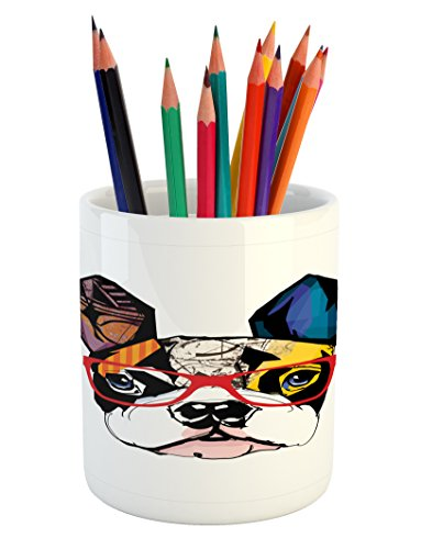 (Lunarable Art Pencil Pen Holder, French Bulldog Portrait with Hipster Glasses Abstract Modern Colorful Ears and Eyes, Printed Ceramic Pencil Pen Holder for Desk Office Accessory,)