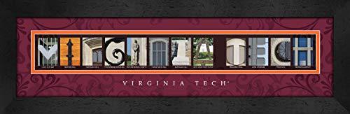 (Prints Charming Letter Art Framed Print, Virginia Tech-Virginia Tech, Bold Color Border)