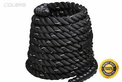 COLIBROX--2'' 40ft Poly Dacron Battle Rope Exercise Workout Strength Training Undulation Heat Shrink Caps on the ends, Heavy and Apprised High Tensile Strength 3-Strand Twisted PolyDac Strong Construct by COLIBROX