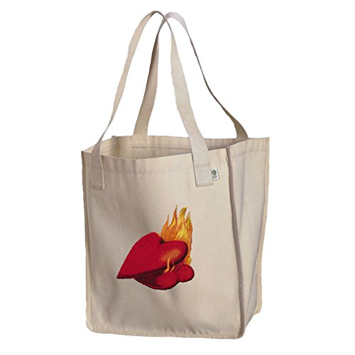 Market Tote Organic Canvas Couples Of Hearts On Fire Valentines Day by Style in Print