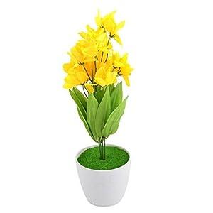 DealMux Plastic Home DIY Craft Decorative Artificial Simulation Narcissus Flower Yellow 21