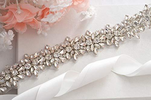 17.71.18 Blue Stones Bridal Crystal Rhinestone Applique Sash Wedding Waist Belt Vintage sash with Satin Ribbon