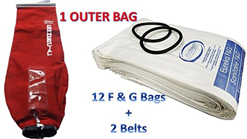 (Sanitaire Professional Premium Cleaning Bundle 1 Outer Bag w/ Latch (53469-23)+ 12 Allergen Filtration Bags for Eureka Style F&G (54924C)Vacuum Cleaner F G Sanitaire Commercial + 2 Belts (52100D))