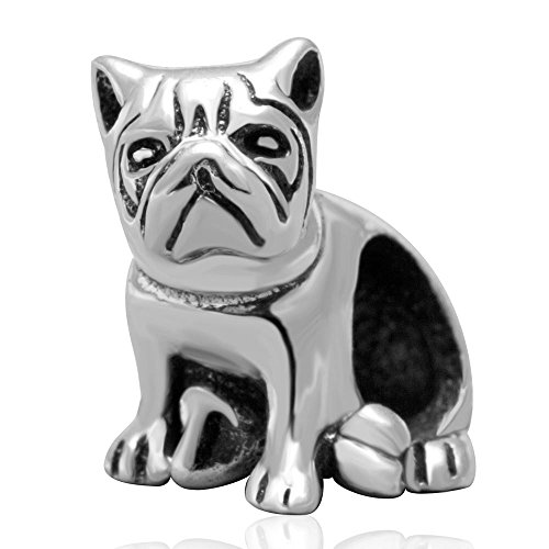 Shengzu Beads Sitting Dog Charm Antique Sterling Silver Animal Bead for European Brand Bracelet - Sitting Dog Charm
