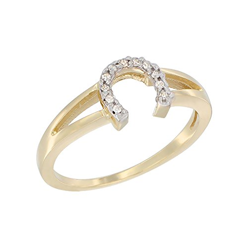 Horseshoe Ring Diamond Ladies (10K Yellow Gold Ladies Diamond Horseshoe Ring, 1/4 inch wide, sizes 6.5)