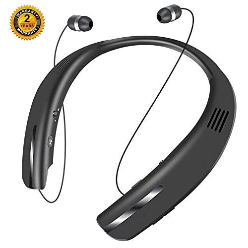 Bluetooth Headphones Speaker 2 in 1,SEOBIOG Neckband Wireless Headset Wearable Speaker True 3D Stereo Sound Sweatproof Headphones with Retractable Earbuds Built-in Microphone (Black) ()